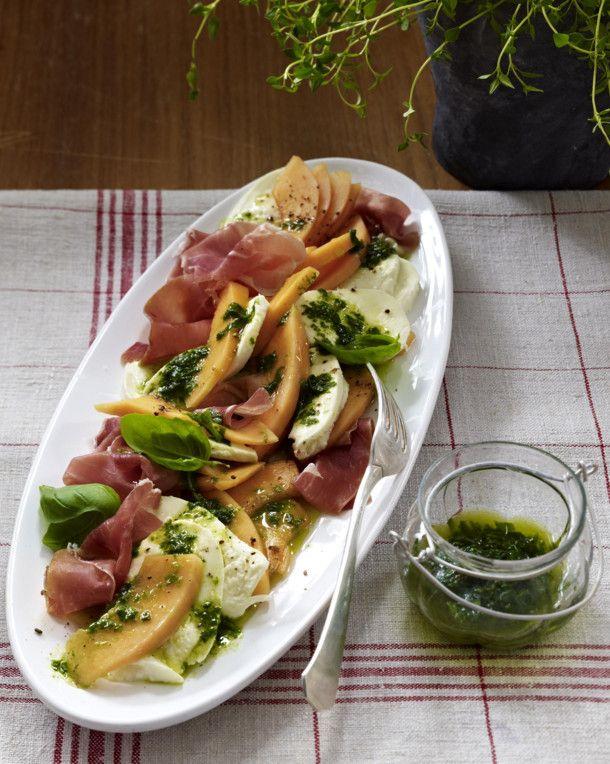 Melone und Mozzarella mit Schinken Rezept   LECKER