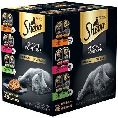 Sheba Perfect Portions Multipack - Gebratenes Huhn, Gourmet Lachs, Zarter Truthahn - Nasses Katzenfutter - 24ct Doppelpackung   - Products -