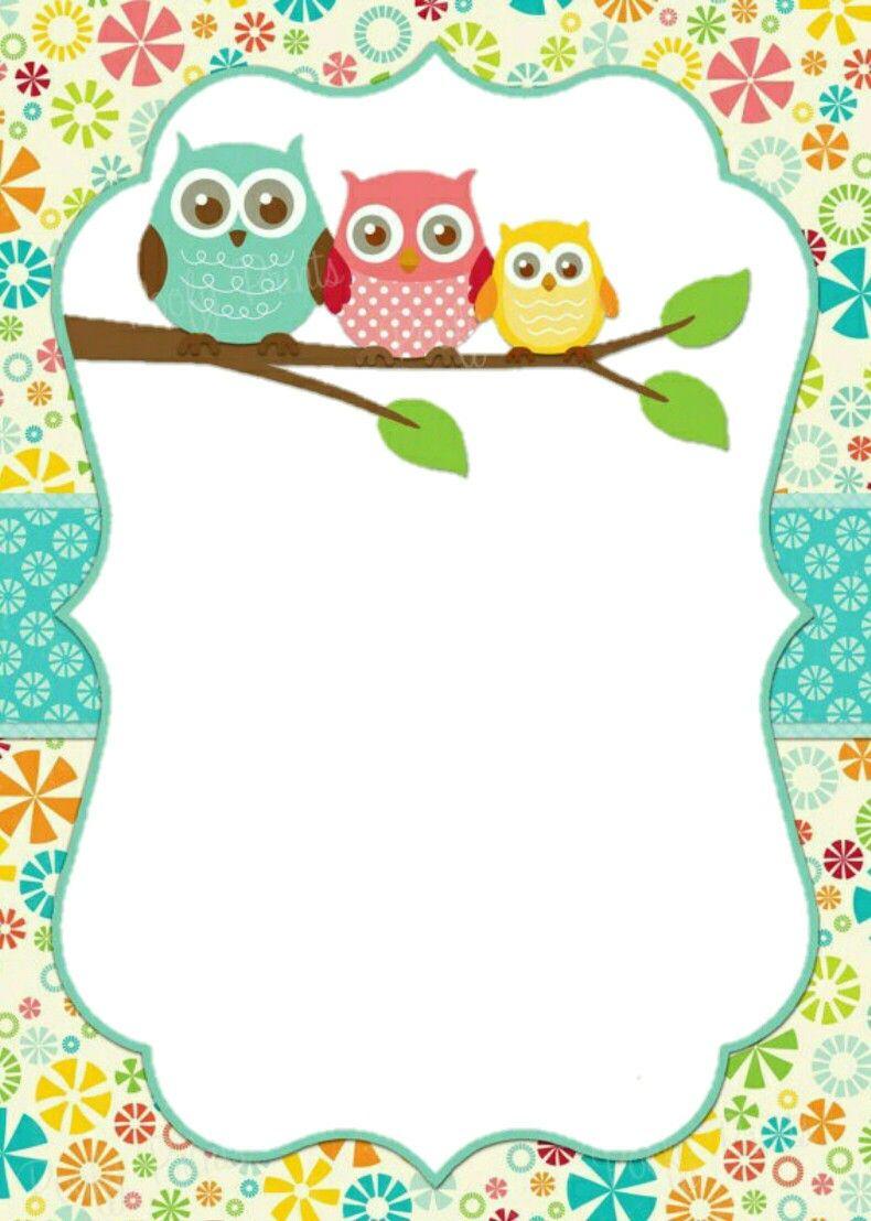 Invitaci n lechuzas bordes y marcos para hojas de color pinterest lechuzas invitaciones - Marcos para fotos decoracion ...