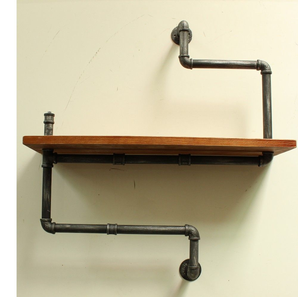 Industrial pipe double shelf rail for downstairs remodel