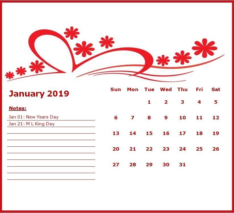 Cute January 2019 Calendar MaxCalendars Calendar, Monthly