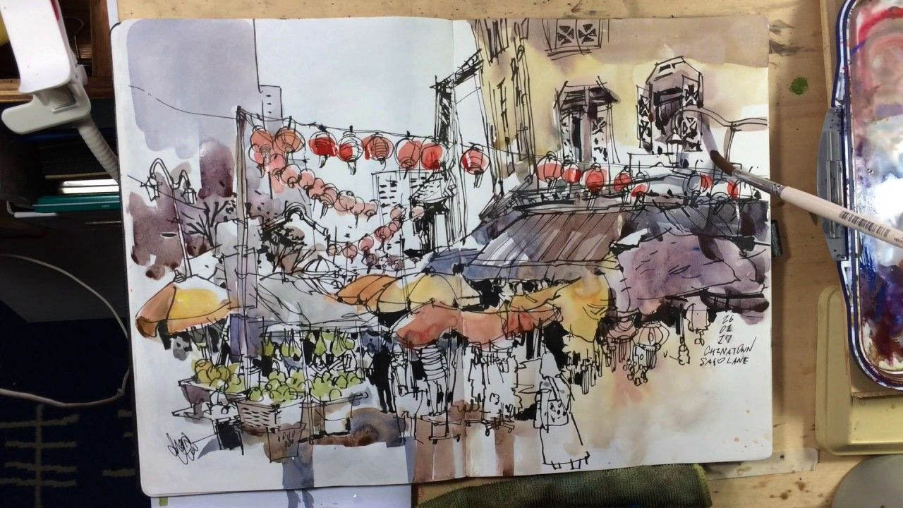Awesome Sketchbook Adding Wash To A Line Sketch