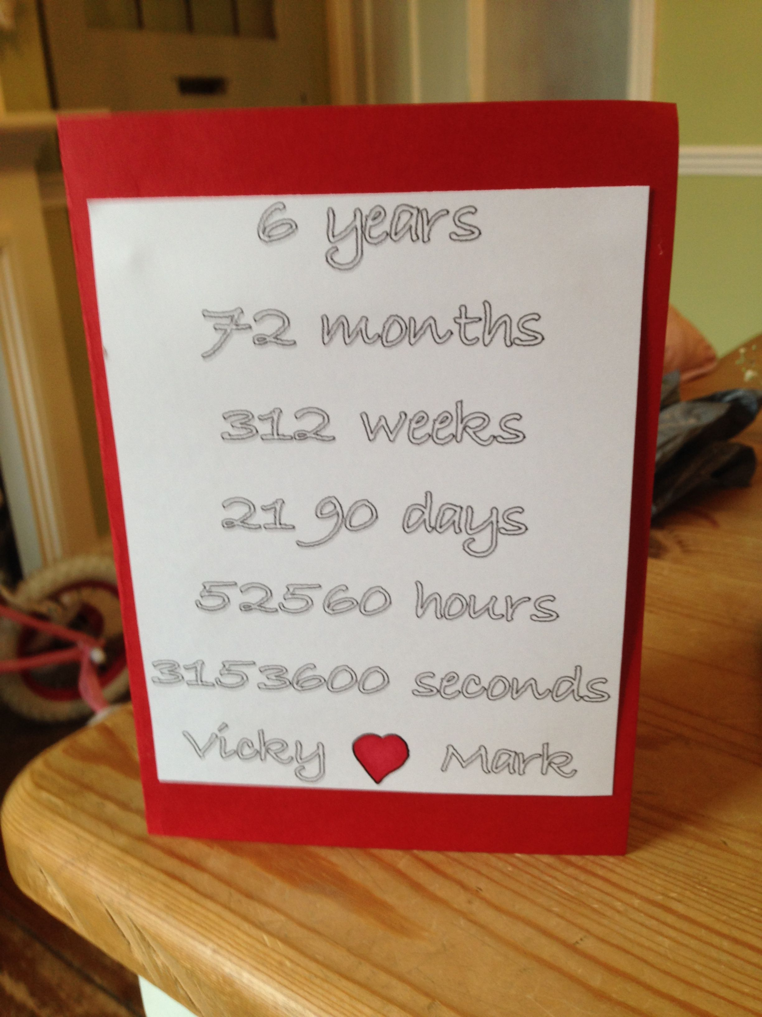 6 Year Anniversary Card 6th Wedding Anniversary Anniversary Ideas For Him 6 Year Anniversary