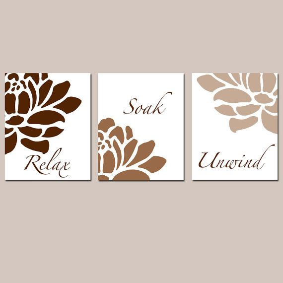 Photo of Brown Floral Bathroom Art – Relax Soak Unwind – Flower Bathroom Art – Set of Three Bathroom Decor for Adult Bathroom – PRINTS OR CANVAS