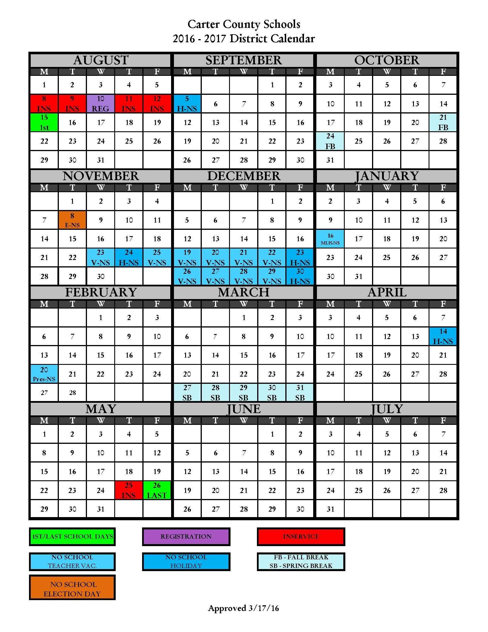 2016-2017 District Calendar - Carter County Schools | Carter county ...
