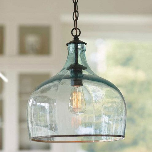 Recycled glass globe hanging lamp from viva terra