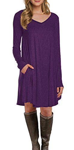20a3a4acea59 LILBETTER Womens Long Sleeve Pocket Casual Loose TShirt Dress Purple XL      More info could be found at the image url.
