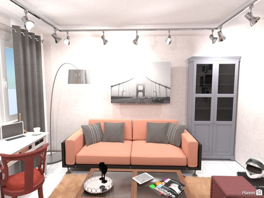Living Room Interior Grey And Pink Color Planner 5d