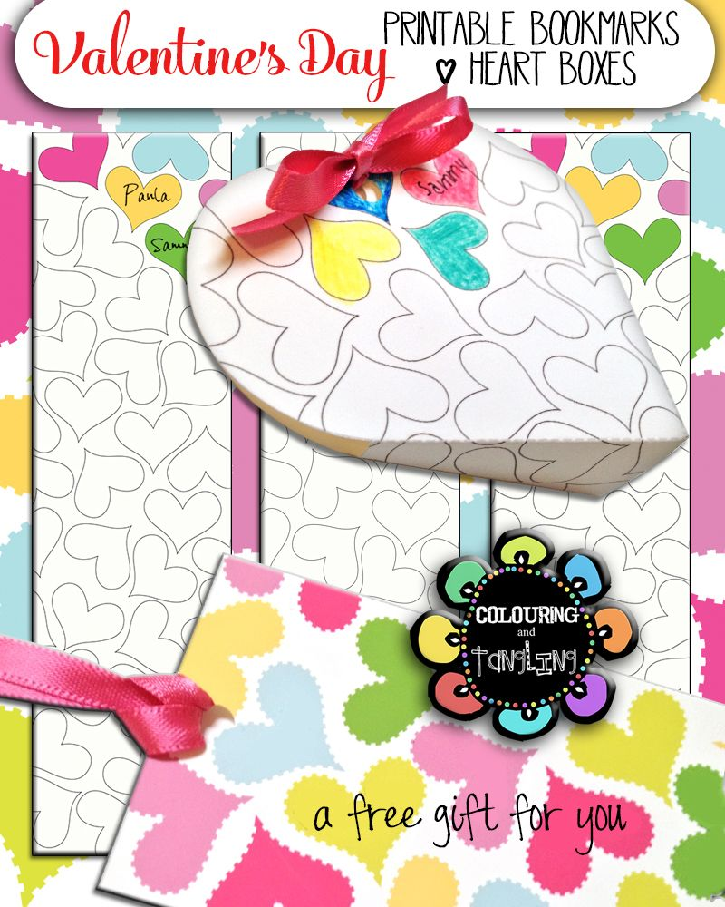 Free printable valentine bookmarks and heart gift boxes for you and