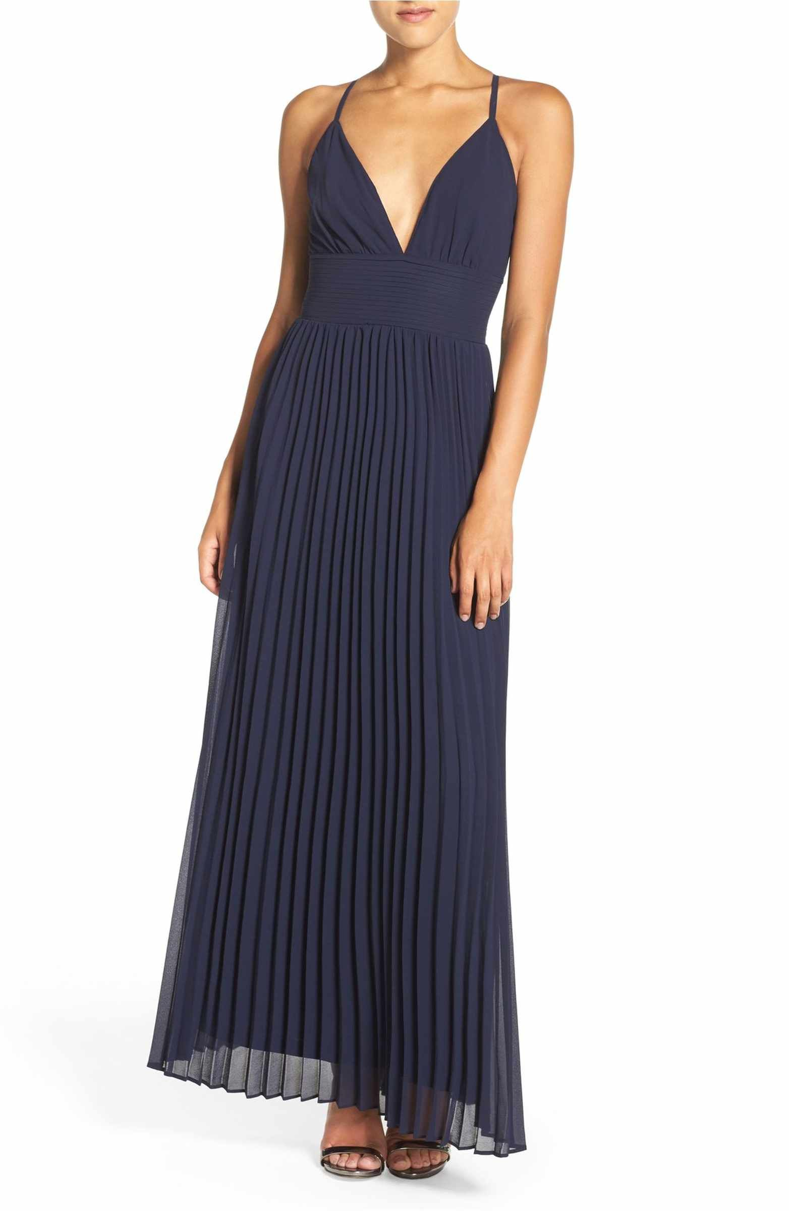 Lulus wedding guest dress  Plunging VNeck Pleat Georgette Gown  Gowns and Fashion