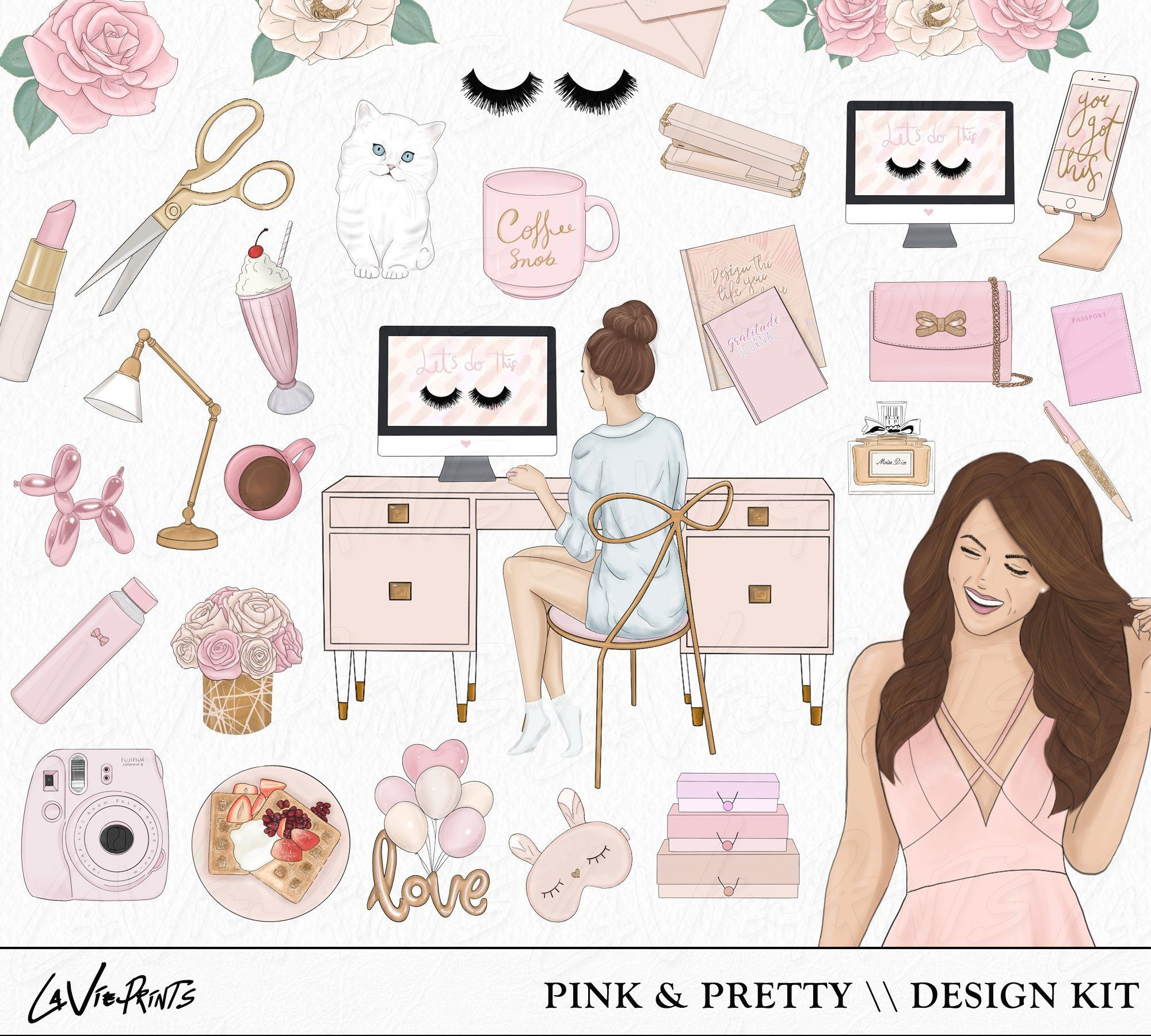 Planner girl Clipart, Fashion Illustrations, Fashion Girl Hand Drawn, 36 Pink Individual PNG items, boss babe clip art, celebrate clip art #clipartfreebies
