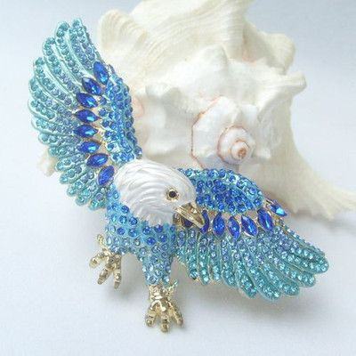 Eagle Brooch Pin w Blue Rhinestone Crystals