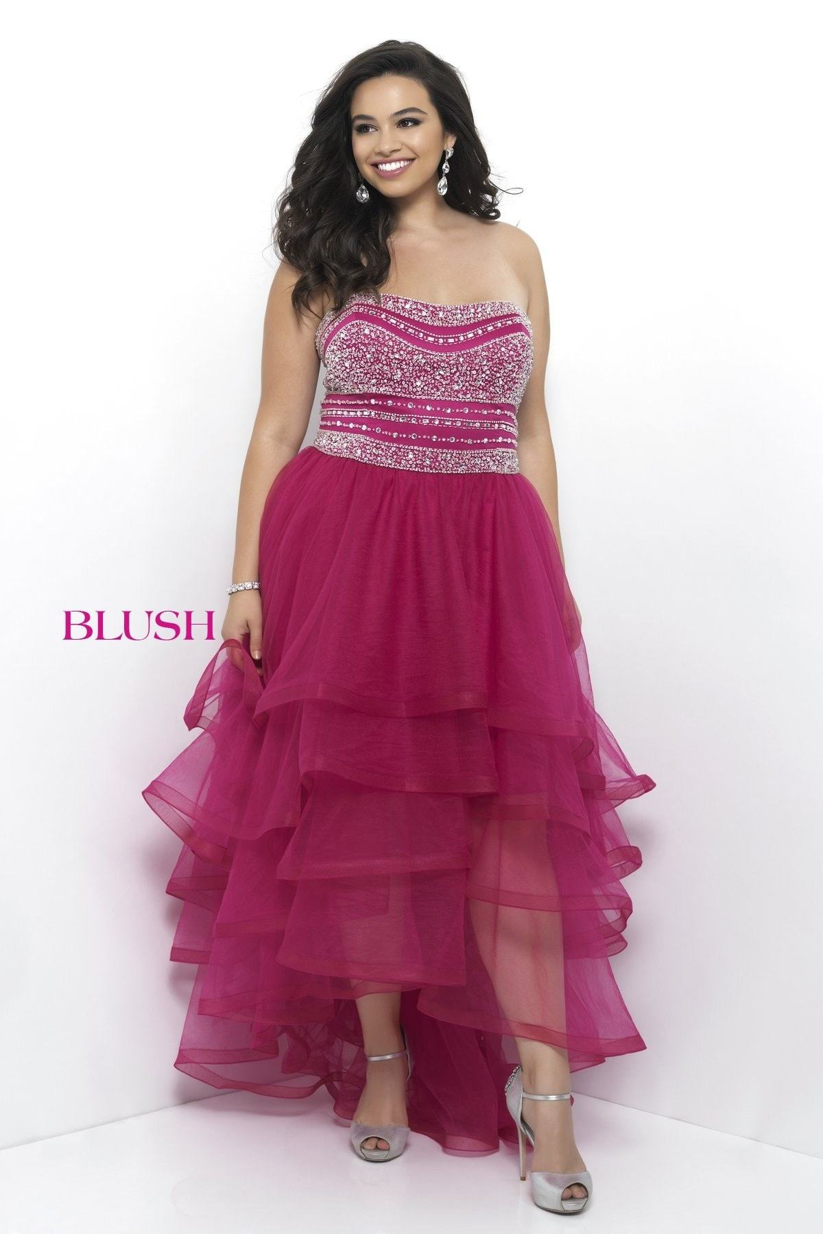 Blush Too (PLUS) 11271W Magenta Strapless Tulle High Low Prom Dress