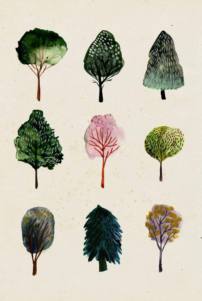 5 Favorite Pins Watercolor Illustration Watercolor Trees