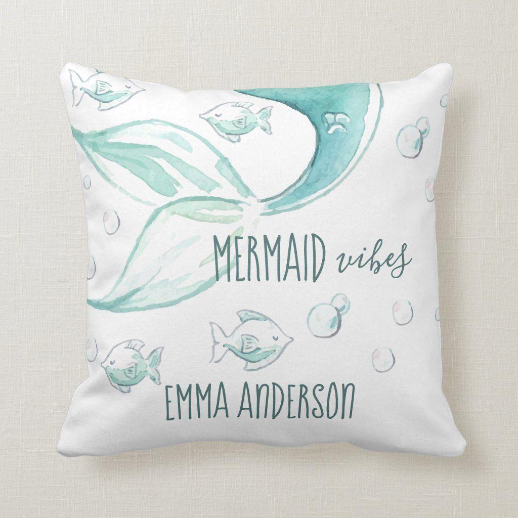 Mermaid Vibes Watercolor Nautical Fish Monogram Throw Pillow