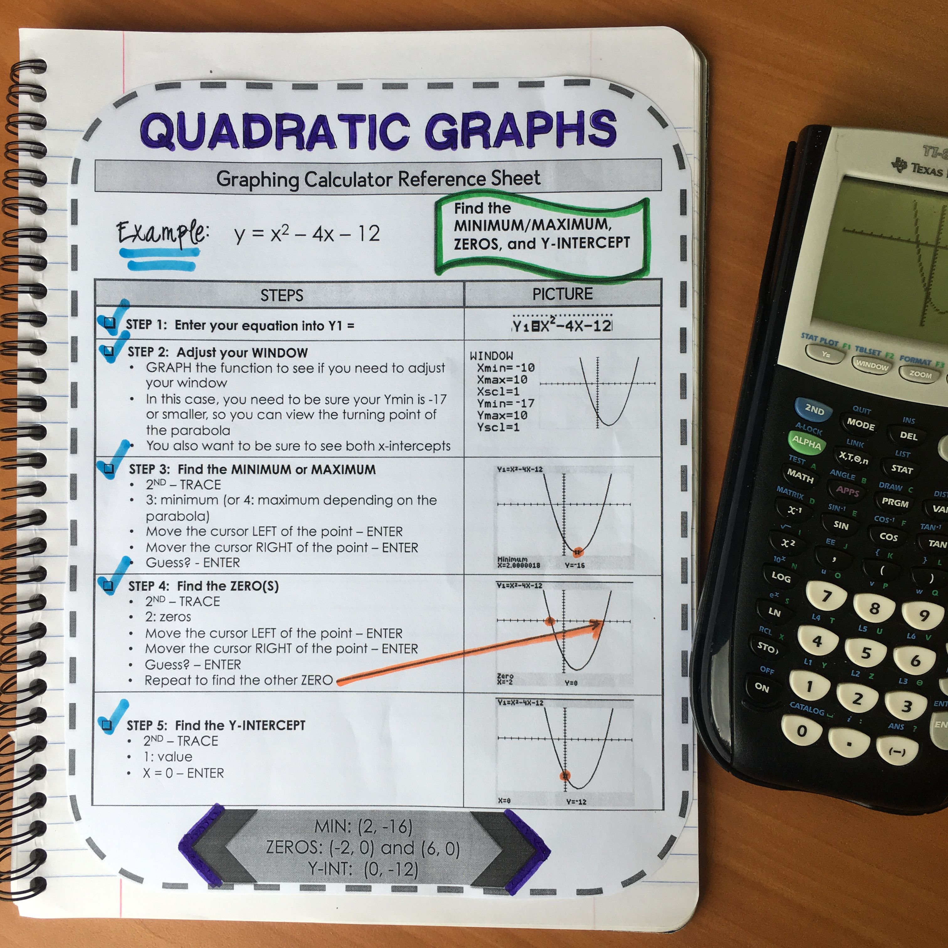 Graphing Calculator Reference Sheet Quadratic Graphs