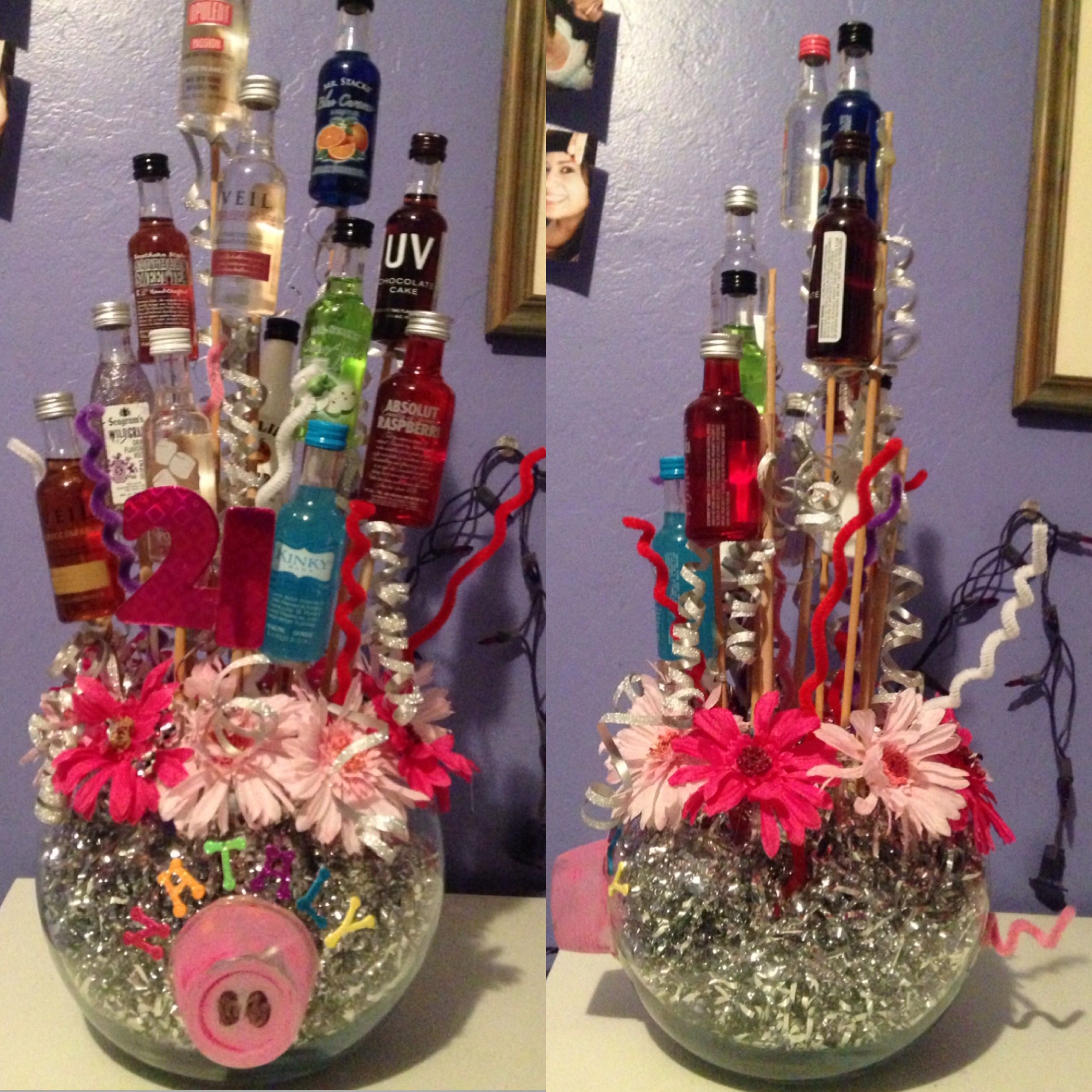 Pin By Kristie Benedetto On Birthday Gift Ideas 21st Birthday Diy Alcohol Gift Baskets Alcohol Bouquet