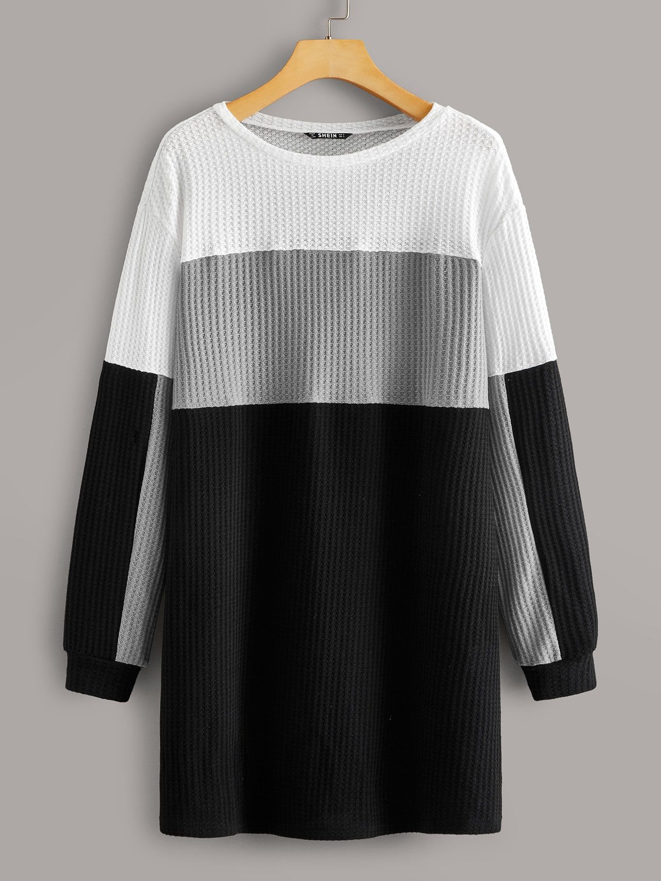 Colorblock Waffle Knit Dress Check Out This Colorblock Waffle Knit Dress On Shein And Explore More To Meet Your Fashion Needs Knit Dress Waffle Knit Clothes [ 1785 x 1340 Pixel ]