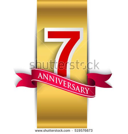 7th Anniversary Logo With Golden Label With Red Ribbon, Vector   Label  Design Templates  Label Design Templates