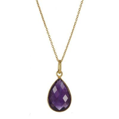 Amethyst Teardrop Gemstone Pendant - Wow, the colour of this gemstone is just beautiful #ELLAGEORGIAAW14