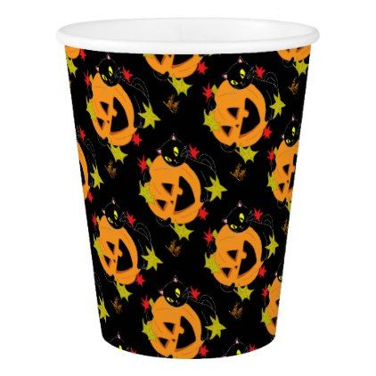 Pumpkin and Cat 1 Paper Cup - #halloween #paper #cups #party - halloween party supplies