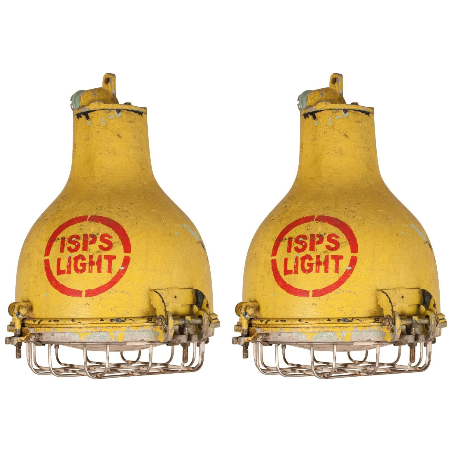 Pair of yellow painted brass and steel nautical pendant lights in