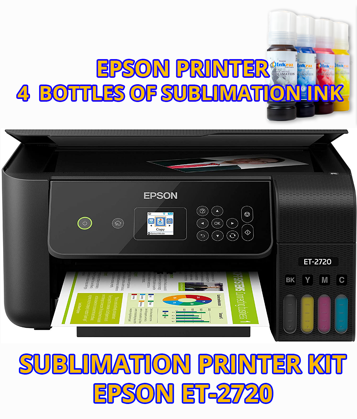 Epson Et 2720 Black Or White With Sublimation Ink Sublimation Printer Bundle Et2720 In 2021 Sublimation Printers Printing Solution Printer
