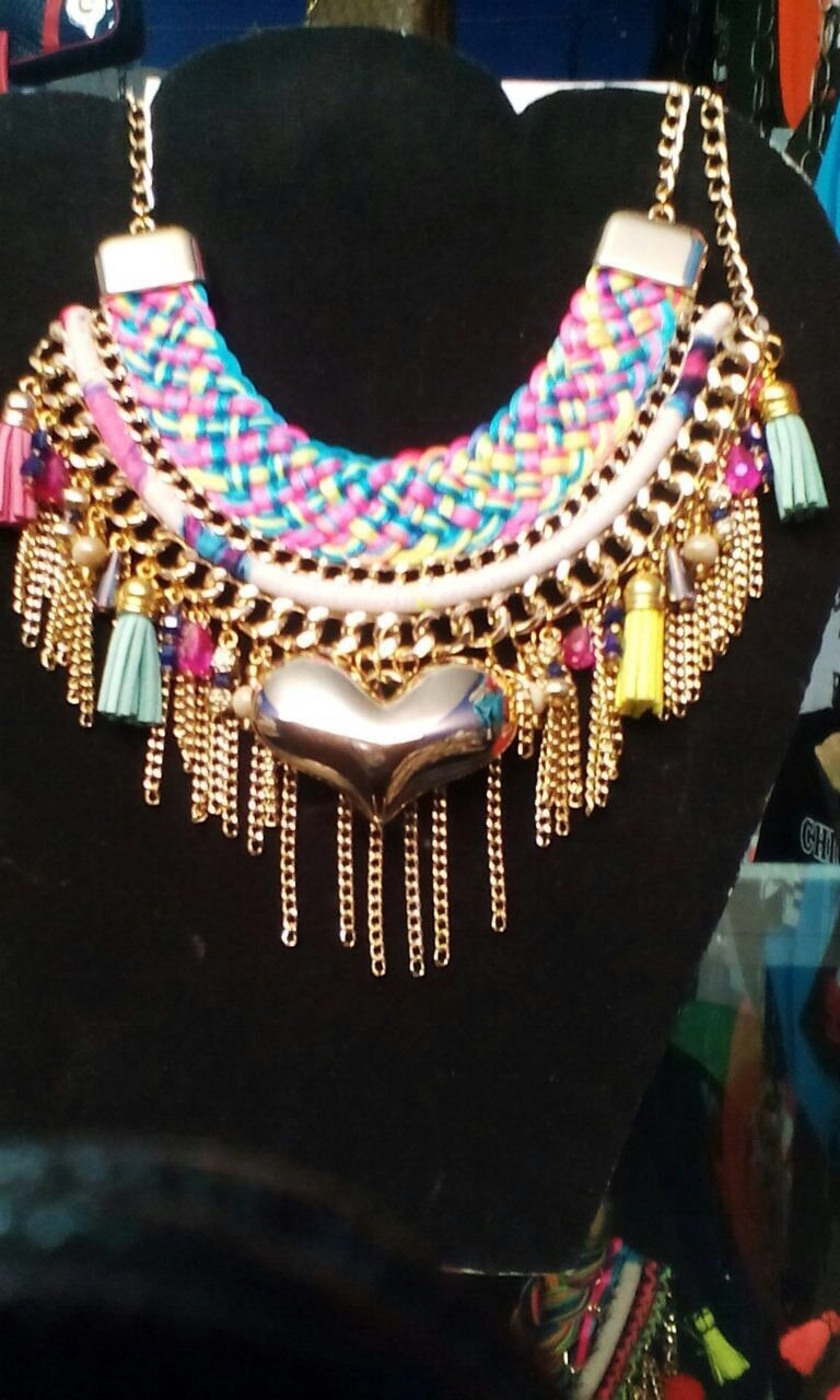 Golden Heart Necklace with Tassels