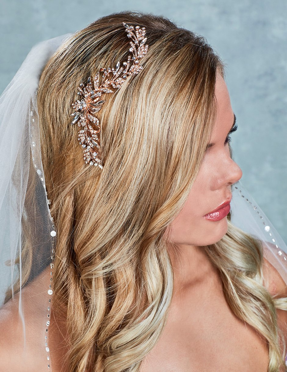 66374c81b Rose Gold Bridal Comb of Crystals Leaves in 2019   Hairstyles ...