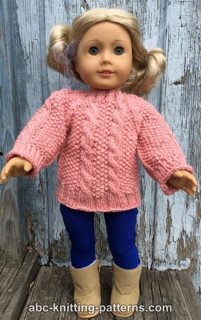 Abc Knitting Patterns American Girl Doll Aran Sweater Doll