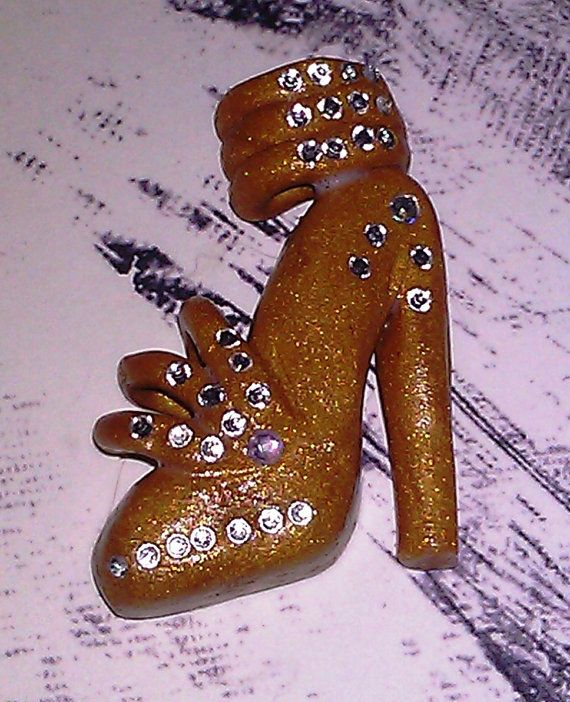Polymer Clay Gold  Designer High Heel Shoe Cabochon / Flat Backed   Cell Phone Case Design / decoration- 34 Swarovski Crystal Accents...$10.00 each