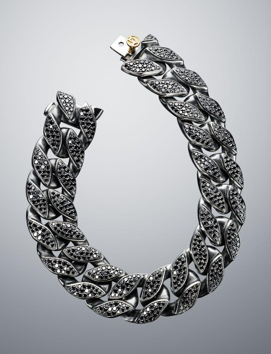 2b54c848d David Yurman - Wide Black Diamond Curb Chain Bracelet | Bling ...
