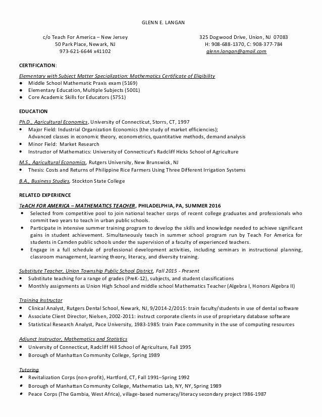 Teach For America Resume New Glenn Langan Resume Teach For America Kindergarten Worksheets Printable Teaching