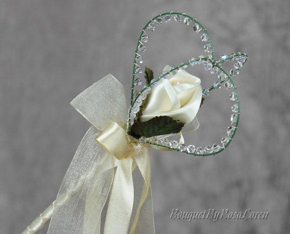 Items Similar To Cream Heart Wedding Wand Flower On Etsy