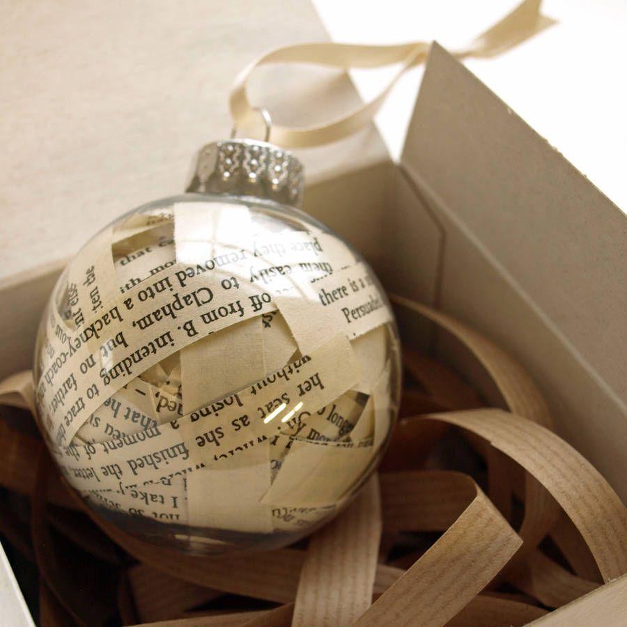 Book Decorative Bauble | Christmas baubles, Christmas tree decorations, Christmas bulbs