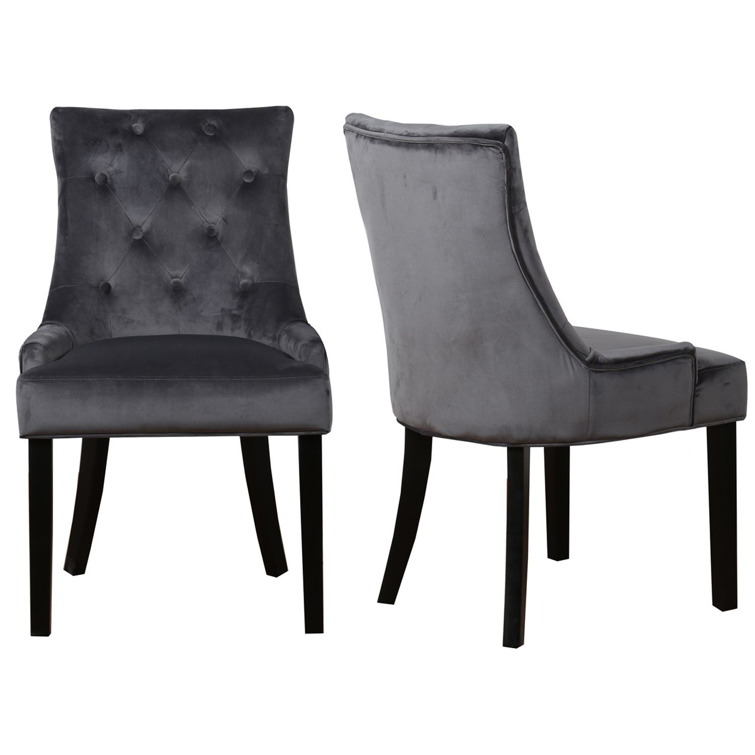 Kaylee Charcoal Pair Of Velvet Dining Chairs With Black Legs
