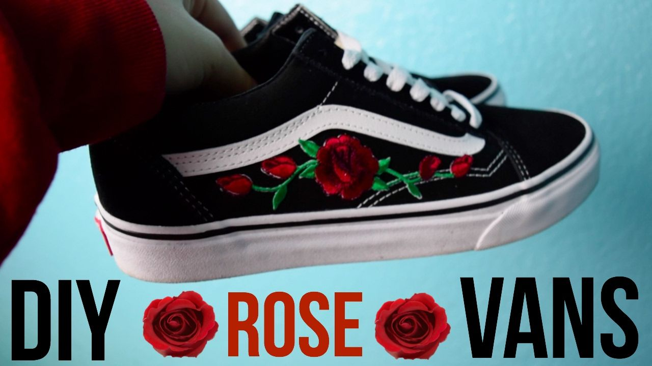 ae8cb01ce1a DIY Rose Patch Vans - YouTube