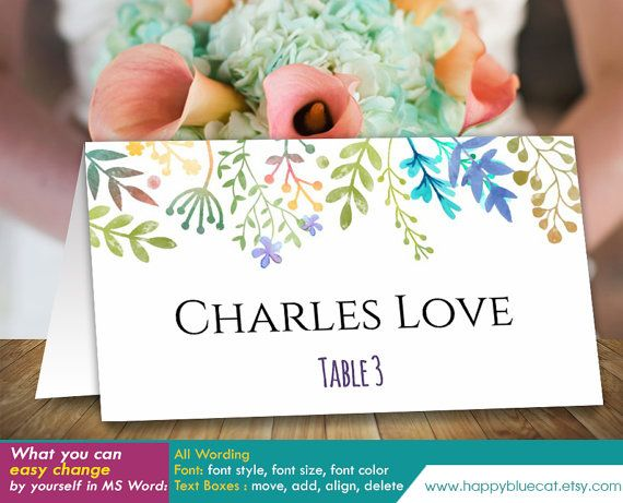 DiY Printable Wedding Place Card Template - Instant Download - microsoft word greeting card template