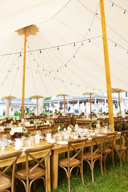 Sail Cloth Tent With Harvest Tables Chestnut Cross Back