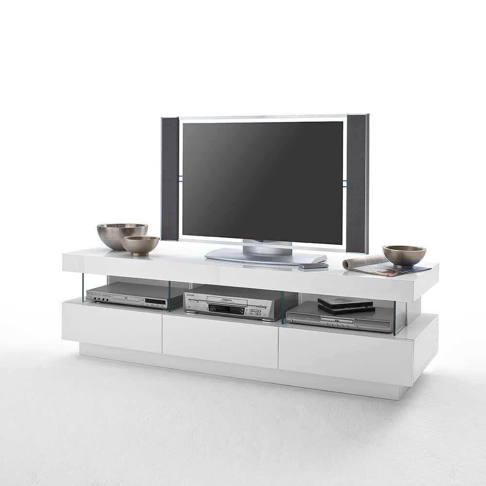 TV Board mit LED Beleuchtung Hochglanz Weiß Jetzt bestellen unter ...