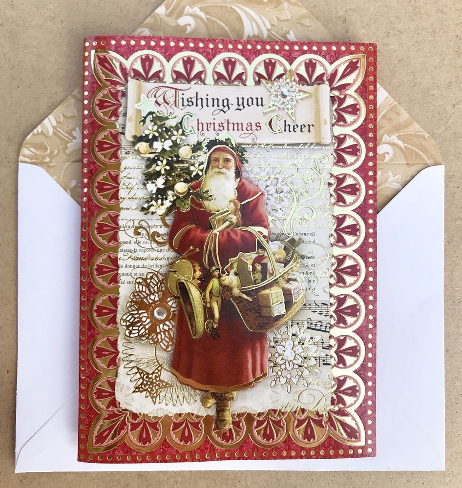 Punch Studio 6 Christmas Cards Old World Santa 3D Dimensional Gold ...