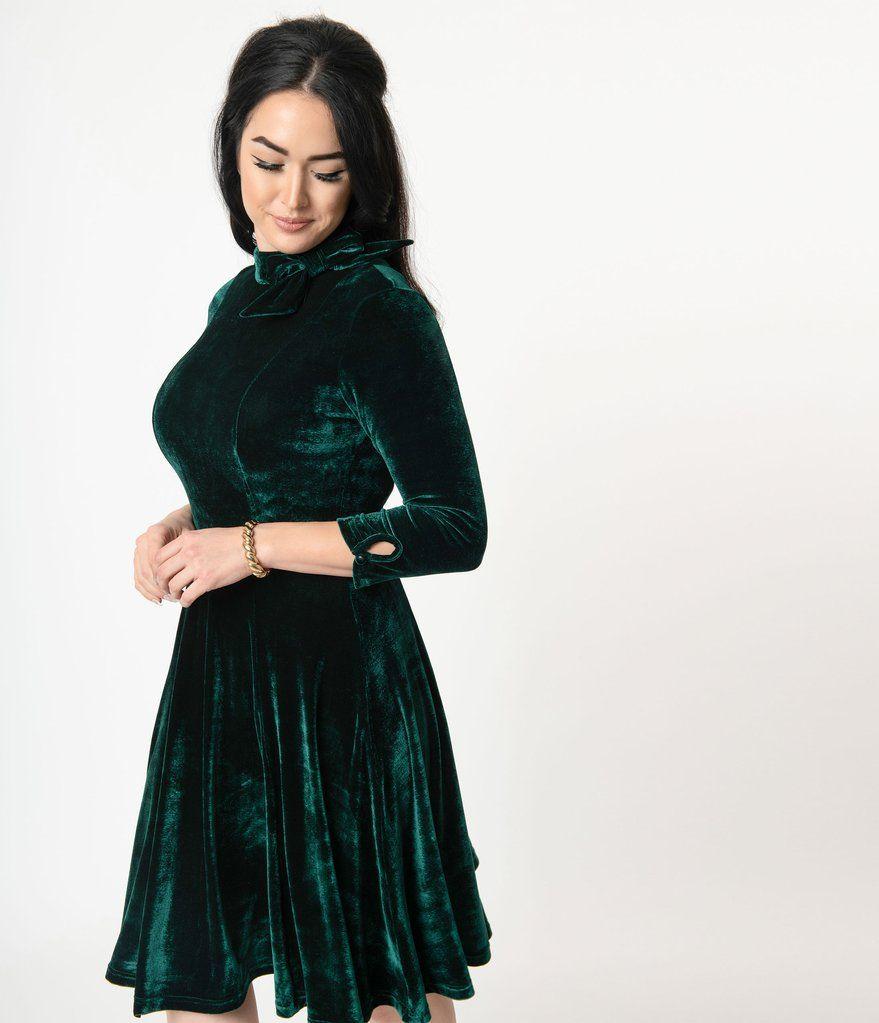 Unique Vintage Emerald Velvet Three Quarter Sleeved Parker Flare Dress Vintage Velvet Dress Classy Skirt Outfits Dark Green Velvet Dress [ 1023 x 879 Pixel ]