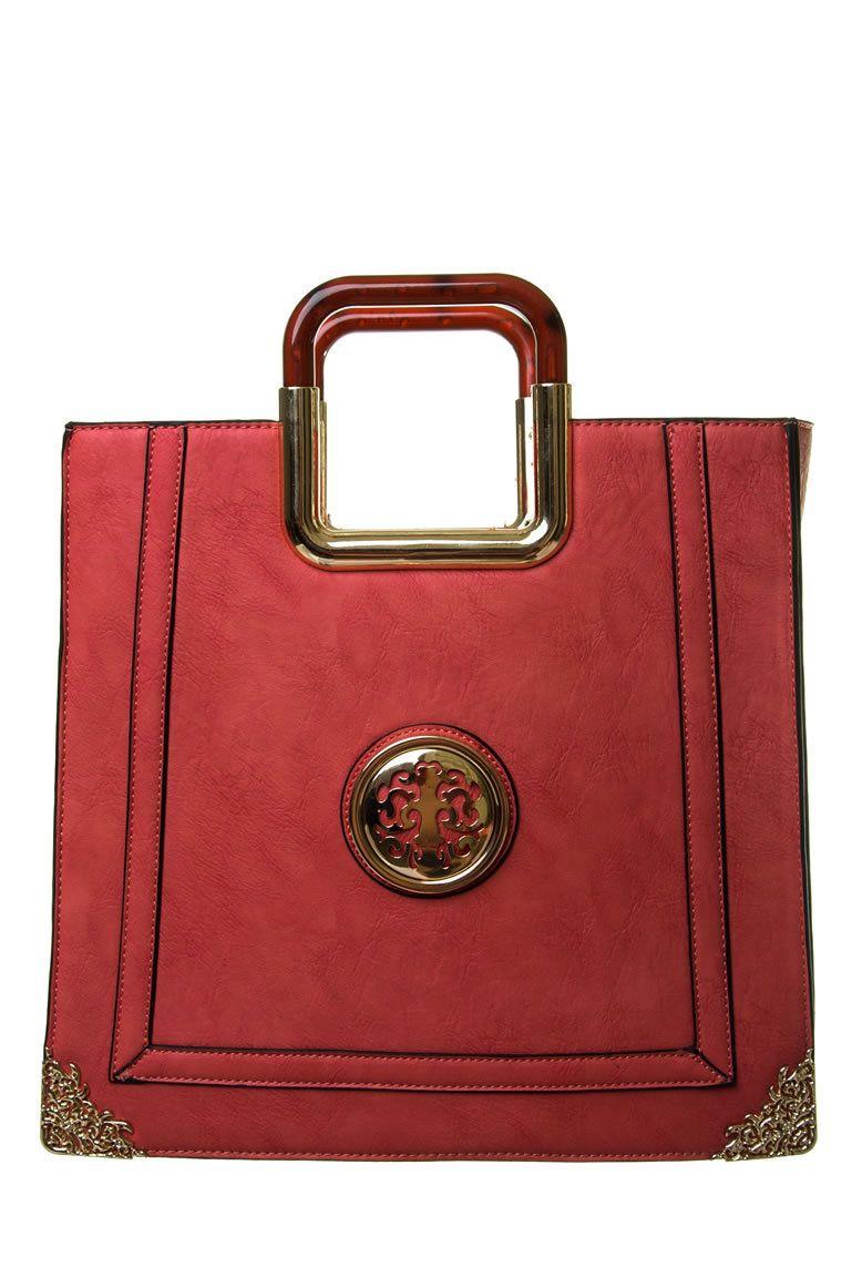 Handbags Mania - Frances Classic Solid Signature Logo Hard Handle Design Tote Bag Coral, $26.99 (http://www.handbagsmania.com/frances-classic-solid-signature-logo-hard-handle-design-tote-bag-coral/)