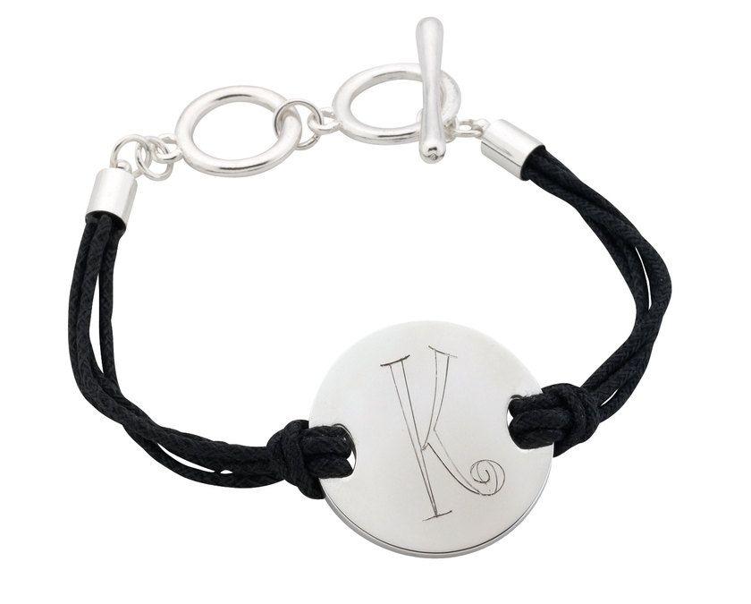 Black Cord Bracelet Engraved Custom Personalized Free Monogram. $15.95, via Etsy.