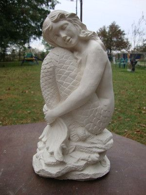 Large Resting Sitting Mystical Mermaid White Concrete Garden Statue Great Gift Ebay