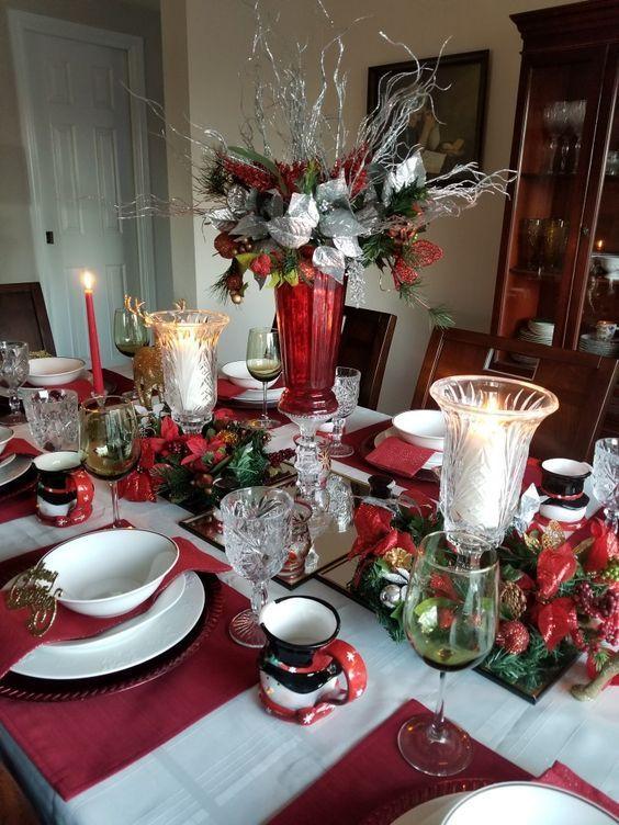 60 Ausgezeichnete Weihnachtstischdekorationsideen die dasjenige Gericht zu einem…