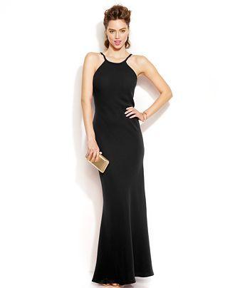 Calvin Klein Sleeveless Scoop Back Halter Gown Dresses Women