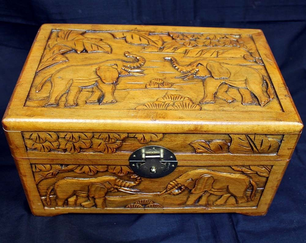 Antique Bed: Beautiful Hand Carved Large Wooden Box Intricate Elephant