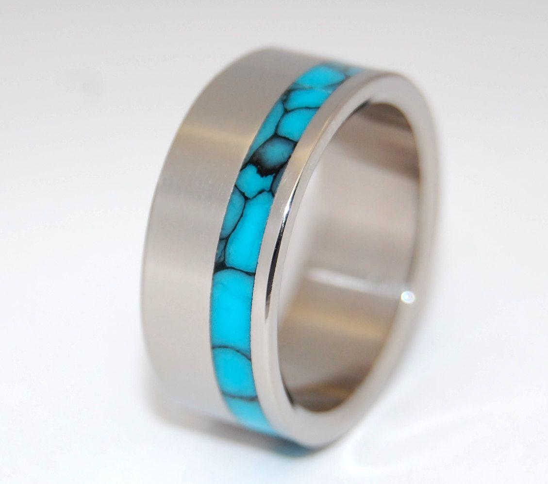 Moonbird Titanium and Turquoise Wedding Band 20500 via Etsy