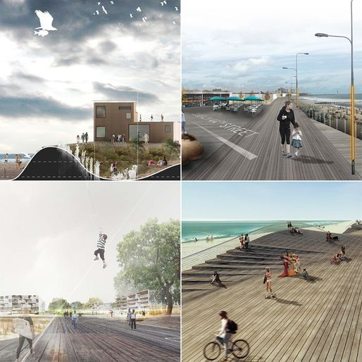 Collage of the four finalists: Ennead Architects, Lateral Office, Seeding Office, White Arkitekter (clockwise from top left)
